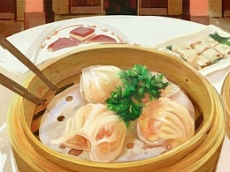 两种风格的虾饺