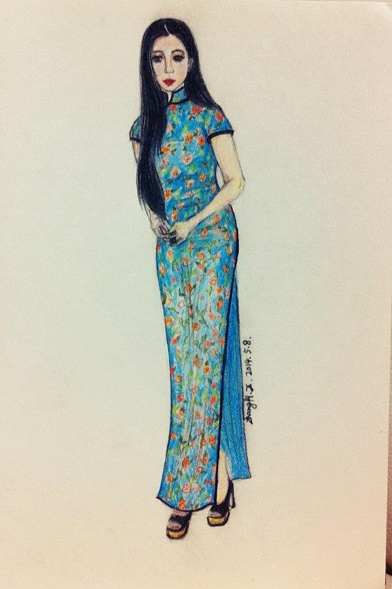 手绘彩铅旗袍