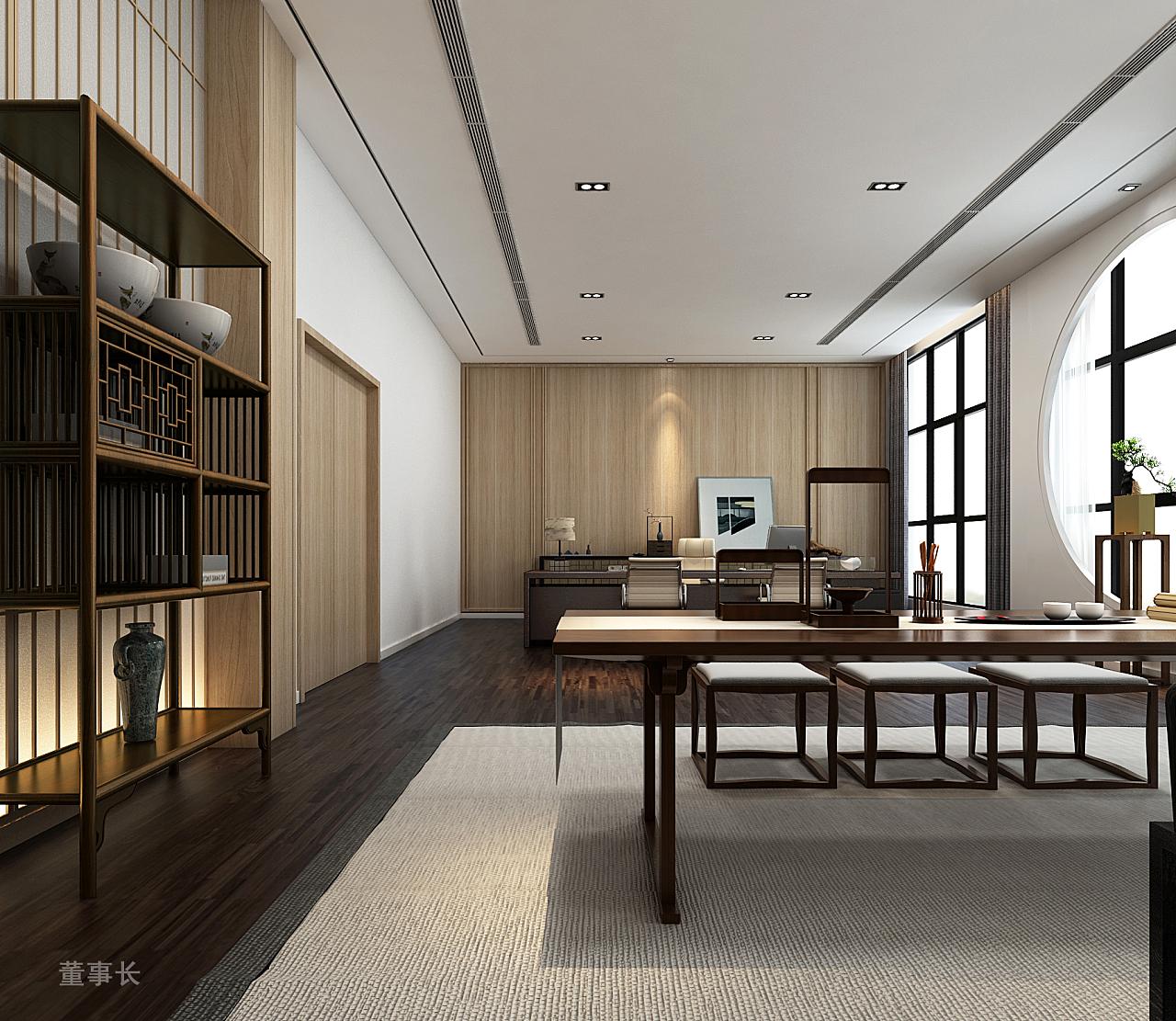 总经理室,因为经理个人比较喜欢中式的风格,所以总经理室单独带点中式图片