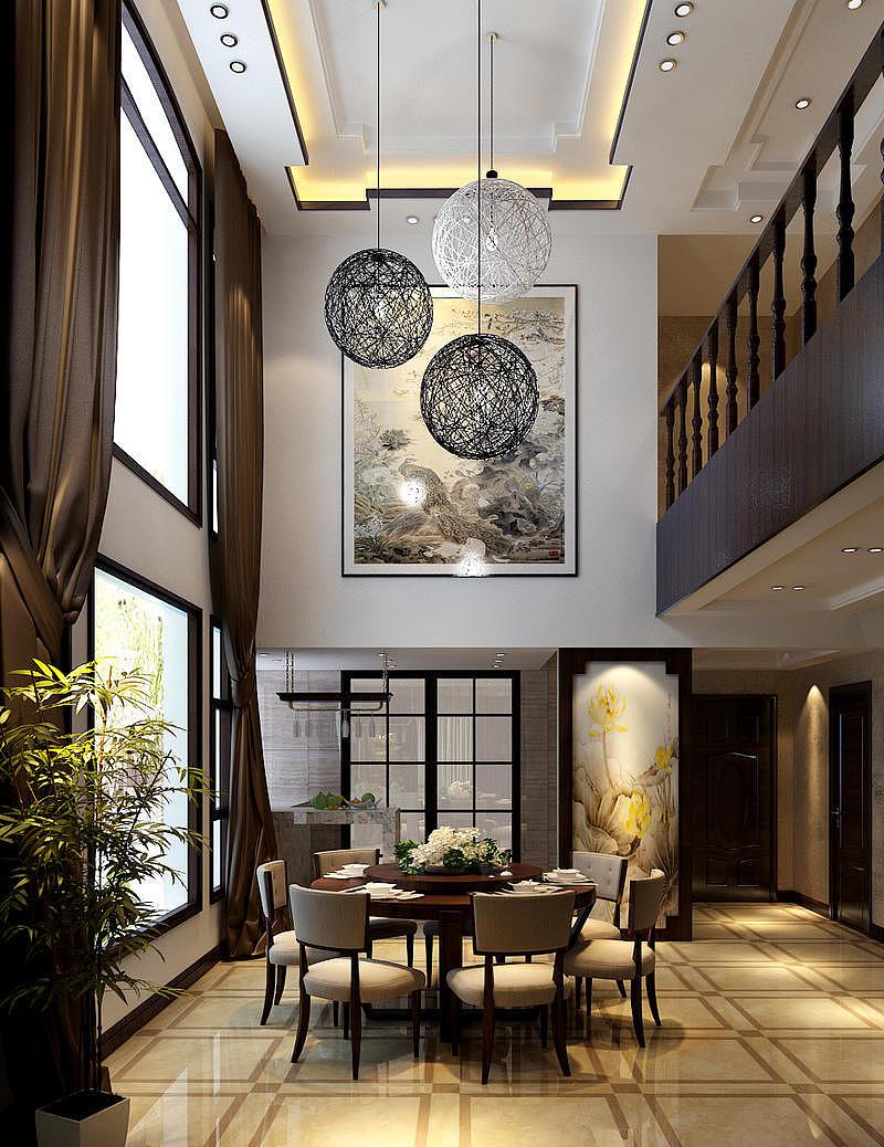 中天托斯卡纳新中式别墅装修别墅地下室美式v别墅案例图片