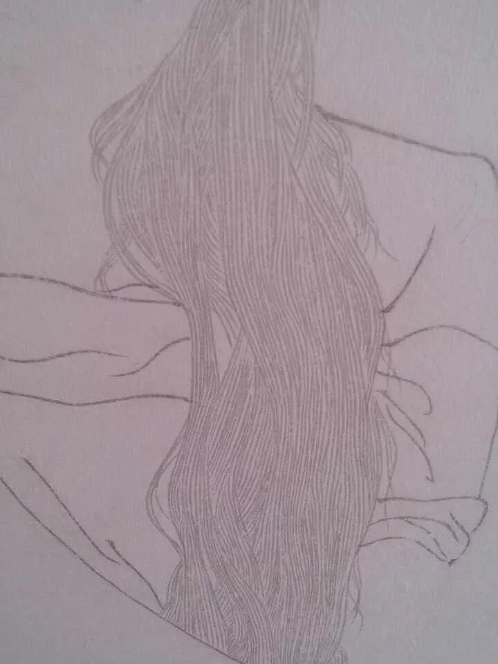 手绘线描稿-头发