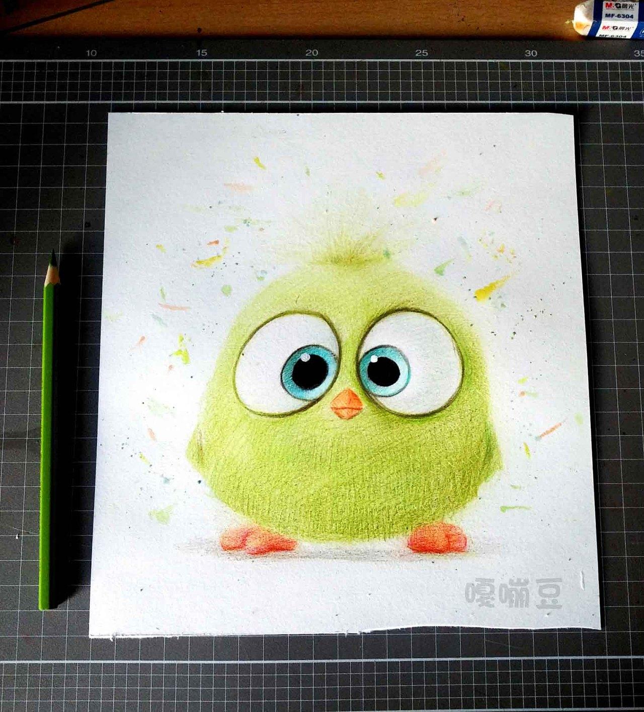 彩铅手绘~愤怒的小鸟