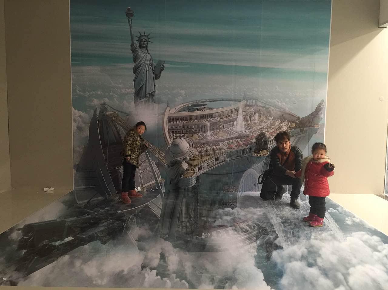 中国-西安-华阴,手绘互动3d立体画/装置艺术/错觉艺术