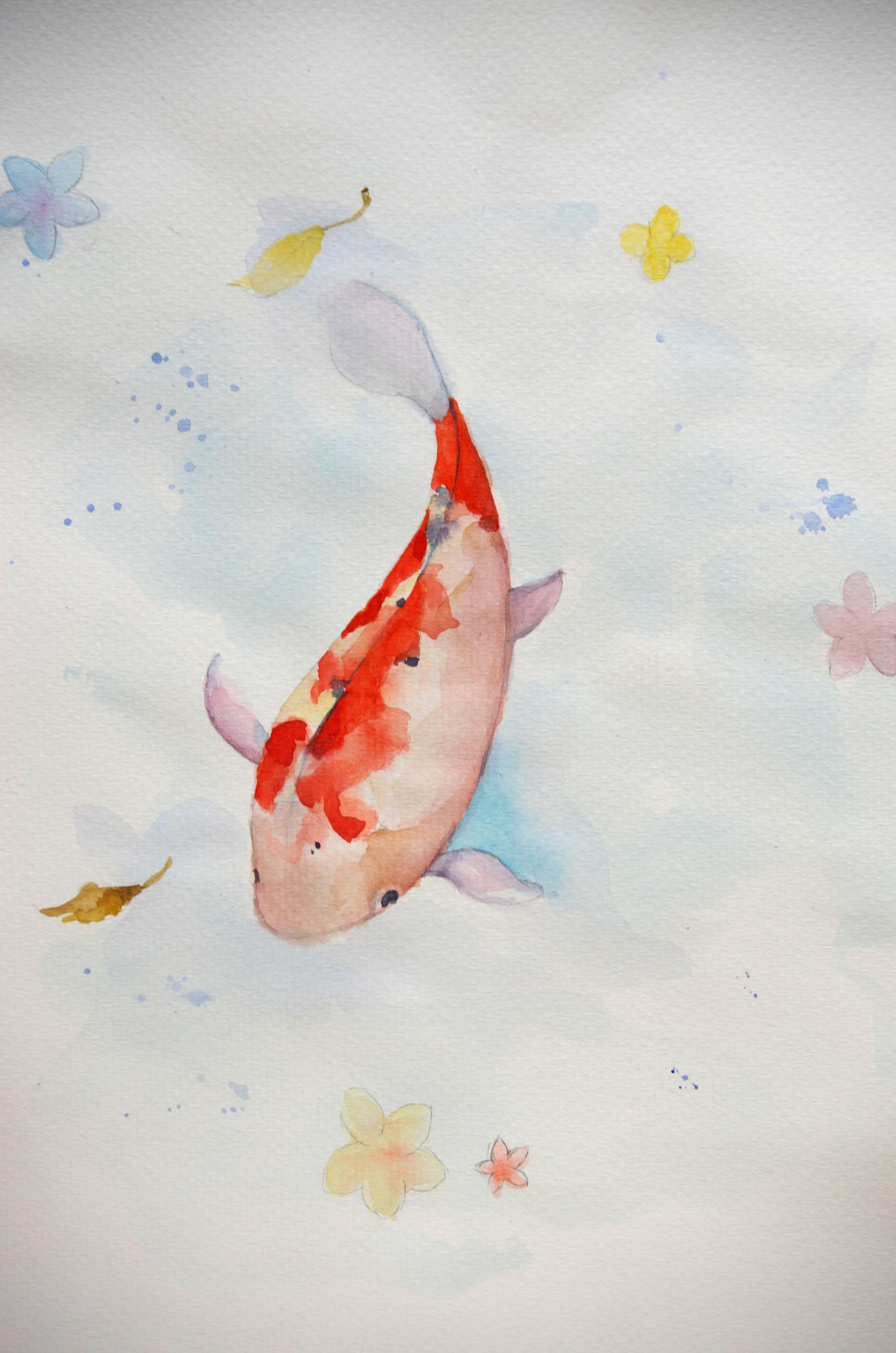 手绘   《鱼鲤》