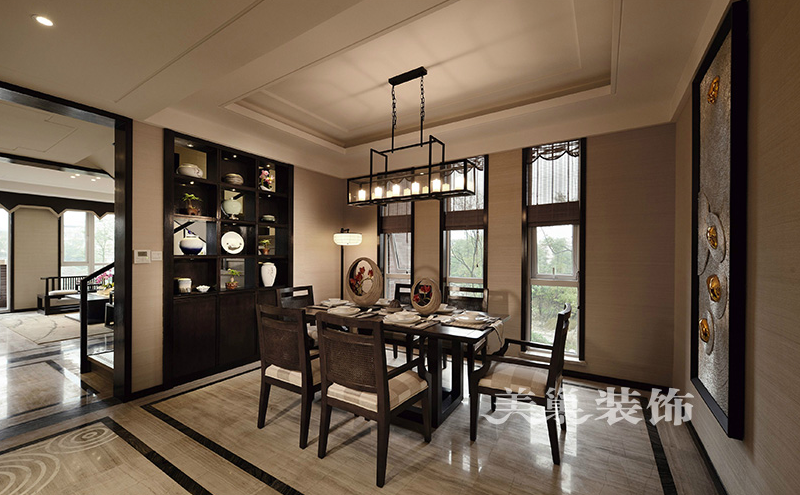 联盟新城450平别墅装修新中式效果图|室内设计布线平面设计图片