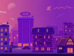 《都市晚霞》矢量插画