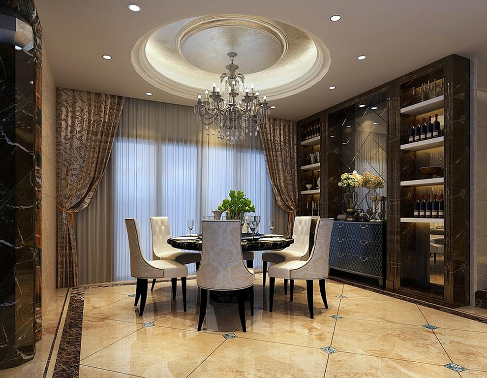 怡丰森林湖联排别墅装修简约美式风格设计图图片