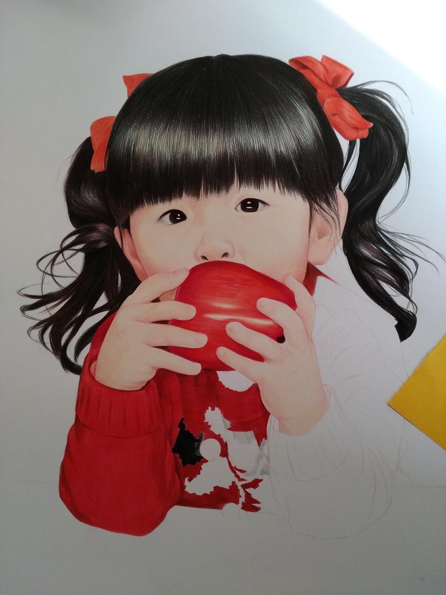 吃苹果的小女孩|彩铅|纯艺术|榕森手绘