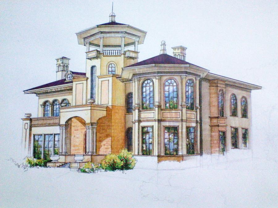 欧式风格别墅外观手绘效果图(上色步骤)|建筑设计||翁