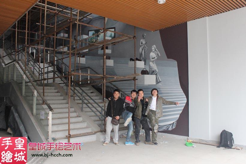 皇城手绘艺术墙面3d立体画作品《灰色空间》图片