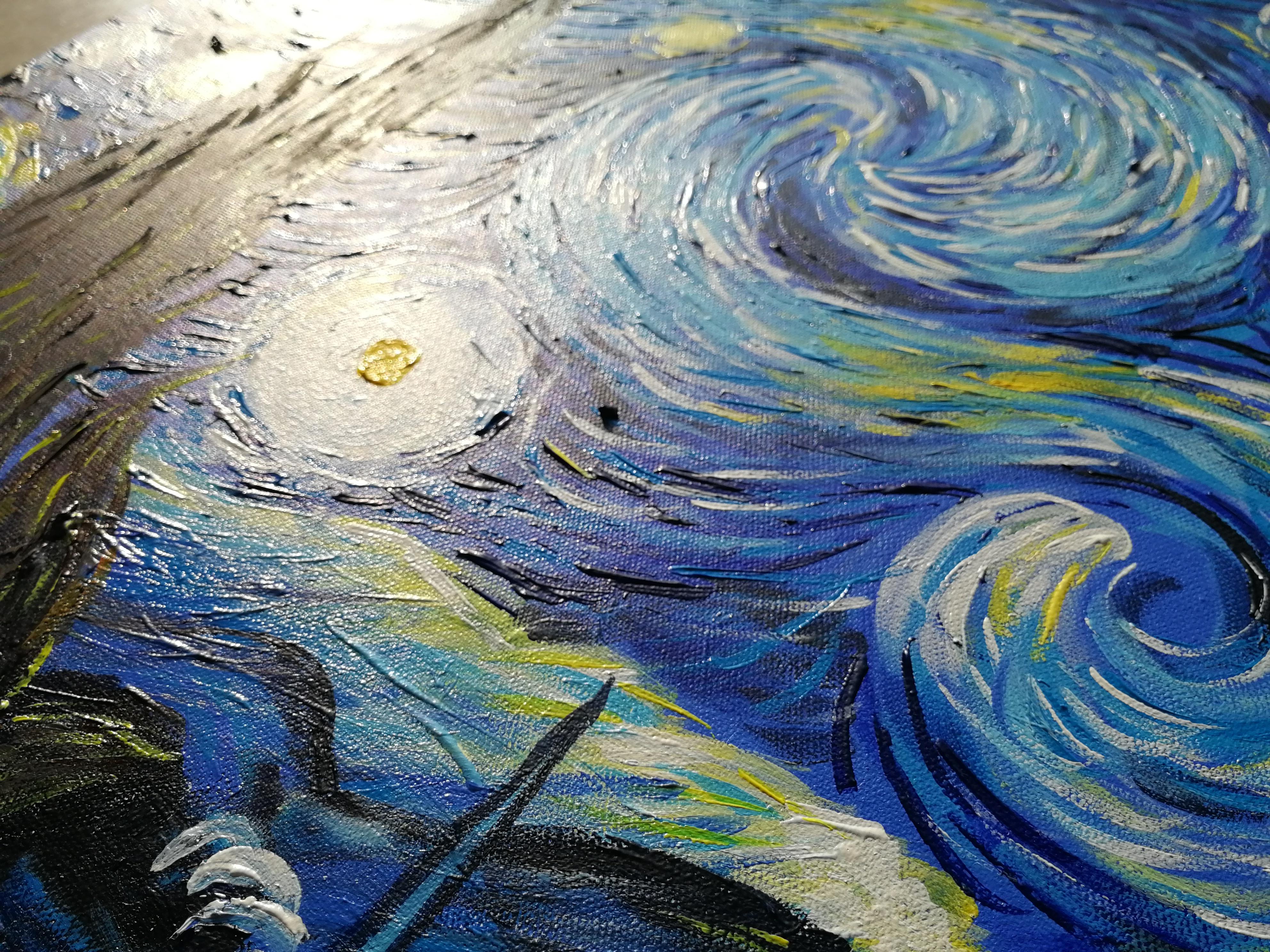 临摹梵高《星空》|纯艺术|油画|yushi6761 - 原创作品