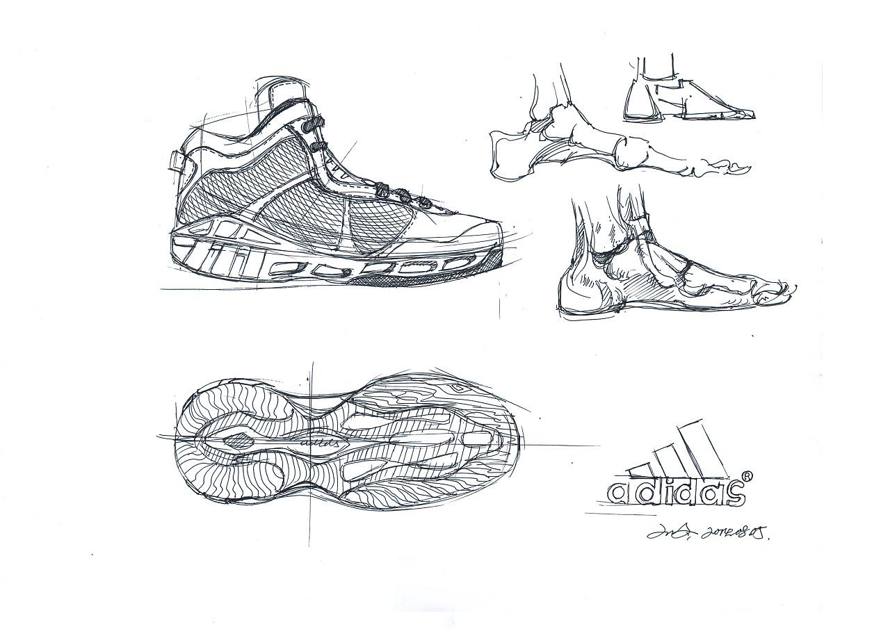 篮球鞋 产品设计手绘线稿及上色