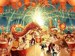 #天猫×广西# 平衡车×炮龙节 新年插画海报