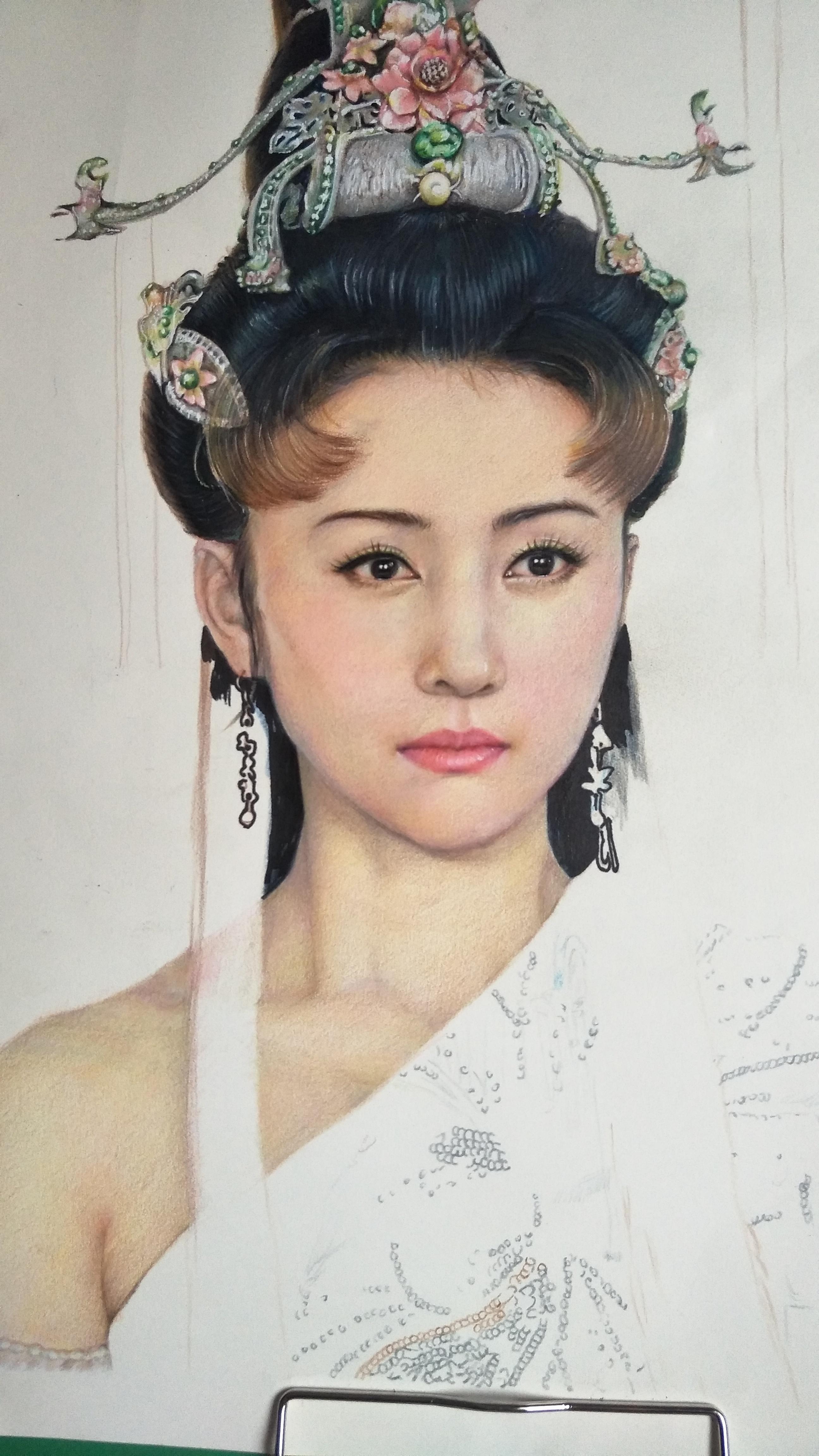 彩铅一位古典美女