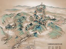 天台山 手绘全景导览图