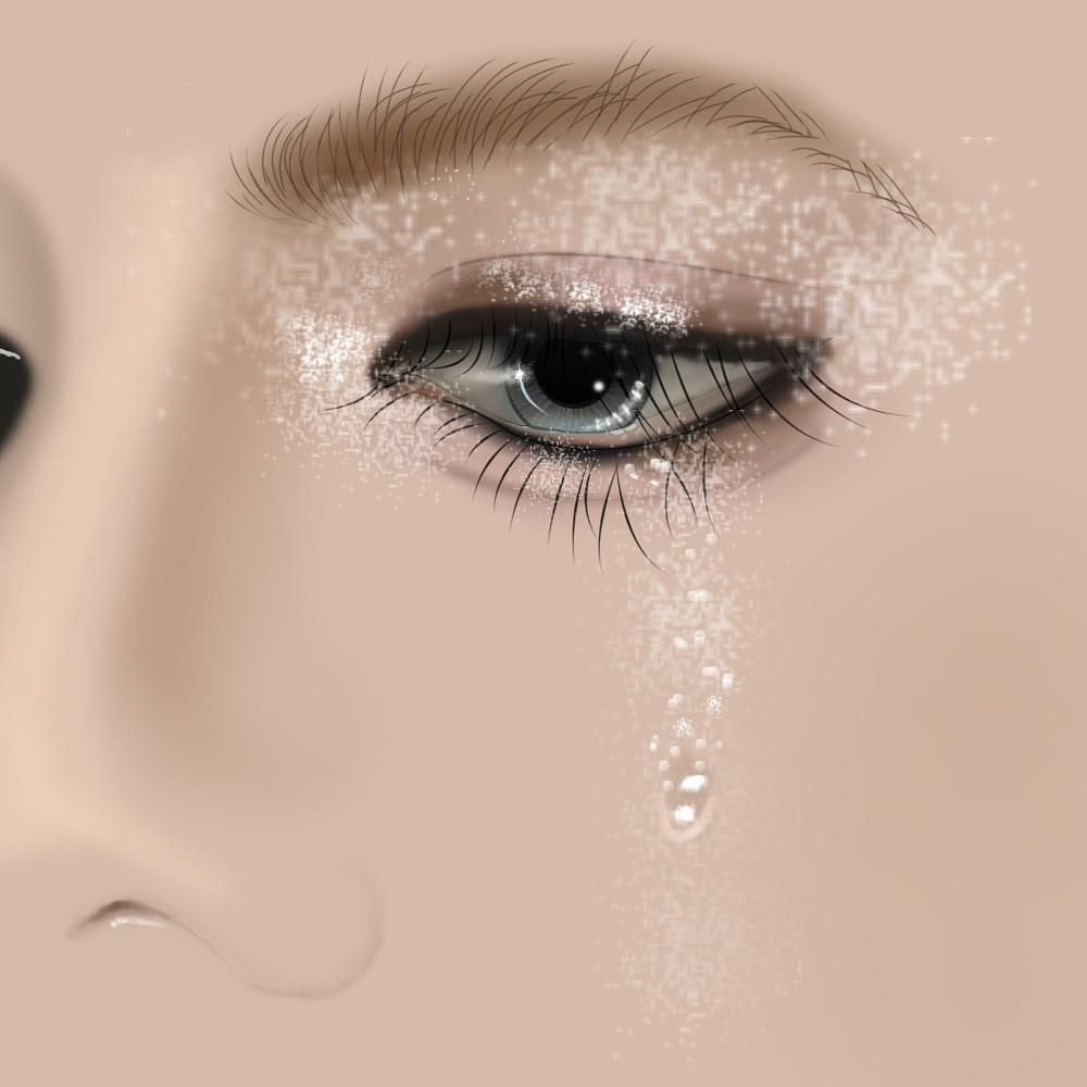 画的流泪的眼睛