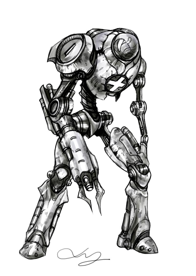 手绘机器人黑白装饰画