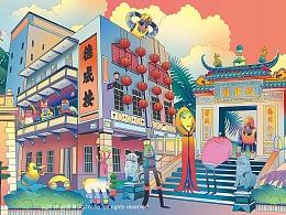 #外星争霸#澳门新濠影汇酒店商场巨幅长图插画墙绘