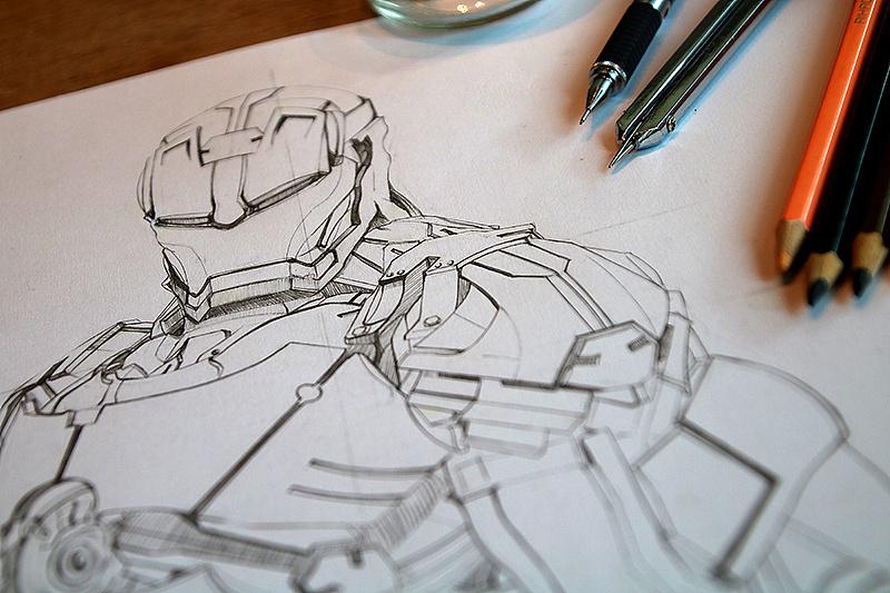 钢铁侠手绘|纯艺术|素描|兜兜卡卡 - 原创作品 - 站酷