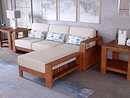 中式沙发渲染