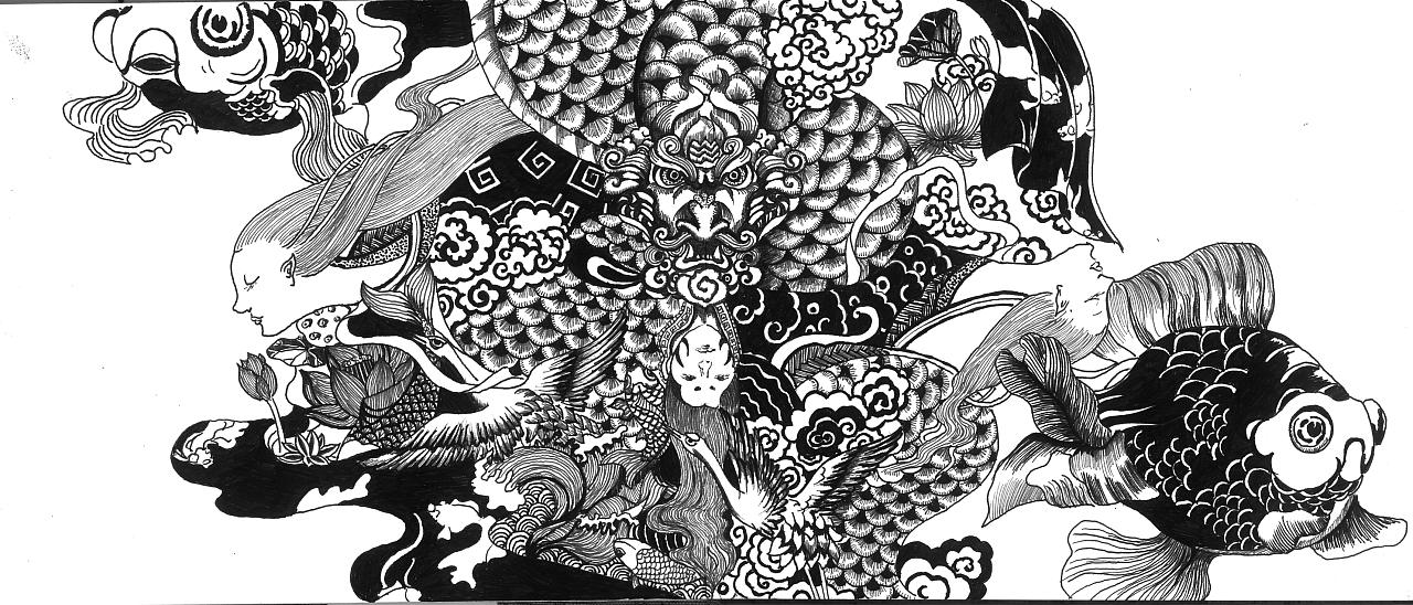 水云——手绘 中国风 龙