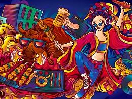 所喜文化:杨排风自助餐厅插画设计