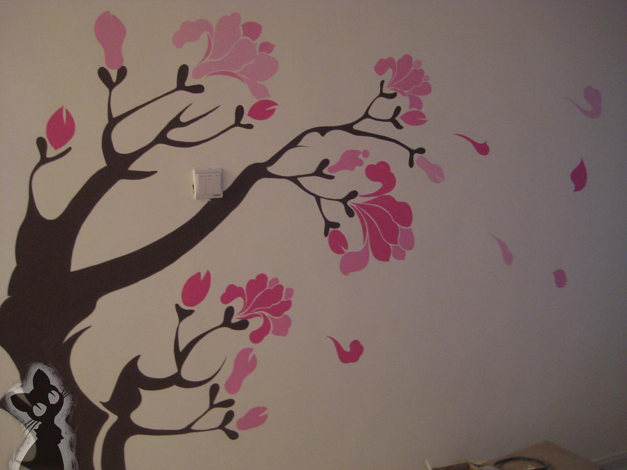 简单家居手绘墙
