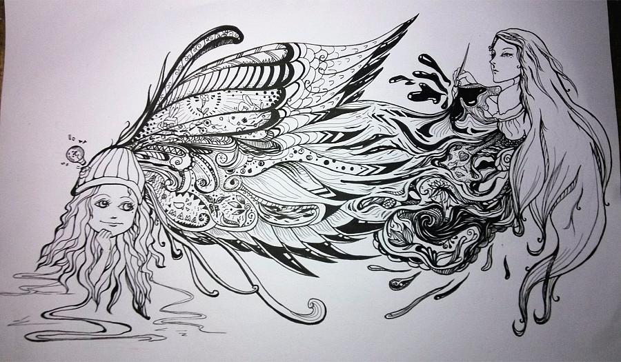 绽放人生-黑白涂鸦纯手绘|涂鸦/潮流|插画|xiaobai46
