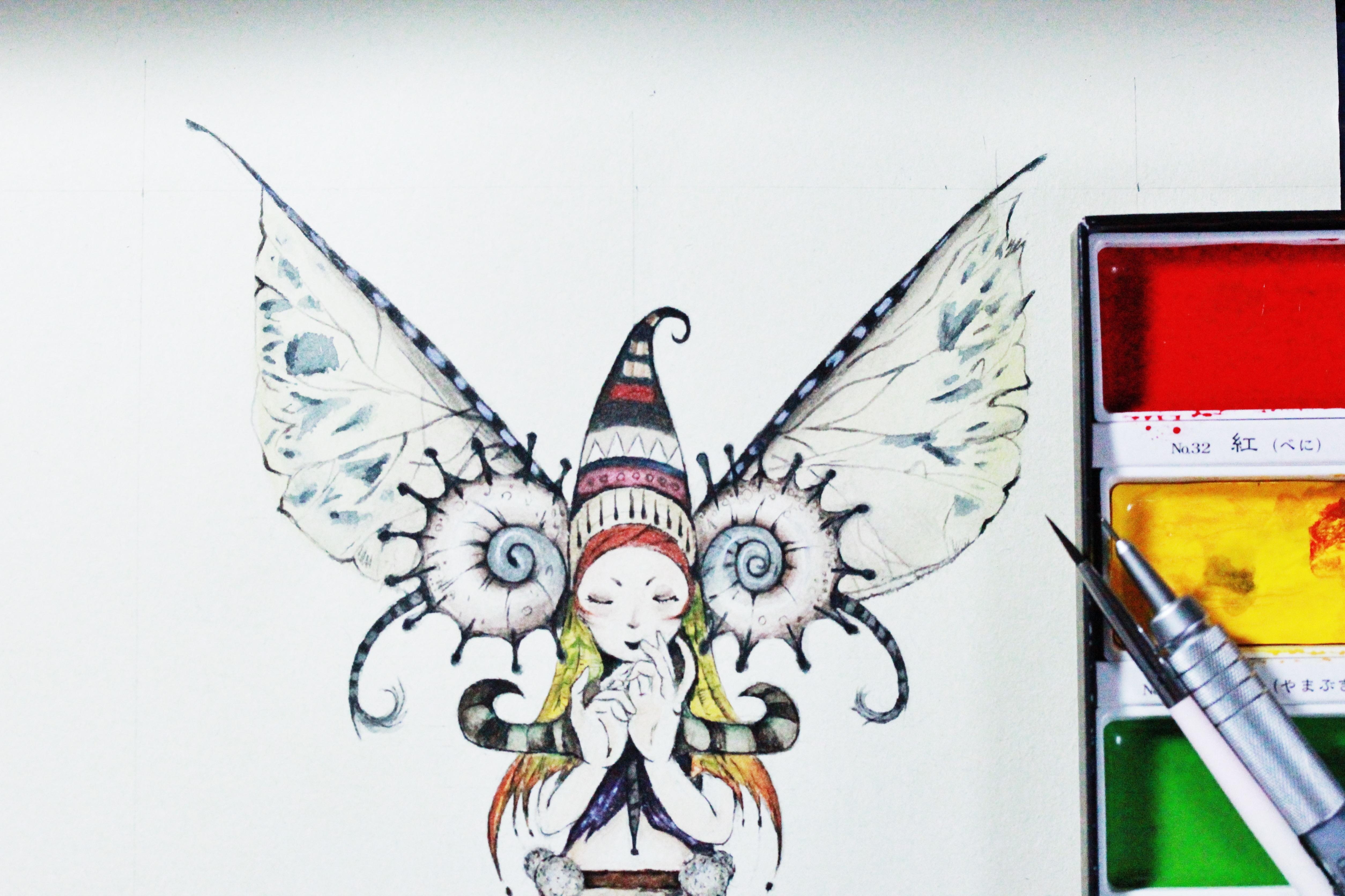 毛虫仙女 手绘插画(附绘画流程)