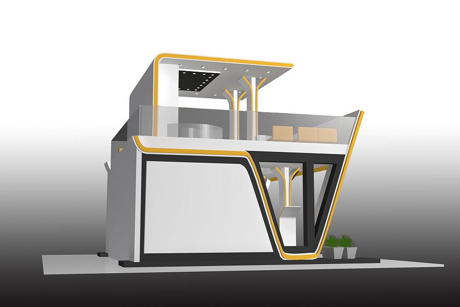 展活动展双层彩陶3D黄色白亲子|主持/空展厅绘制模型设计建筑稿图片
