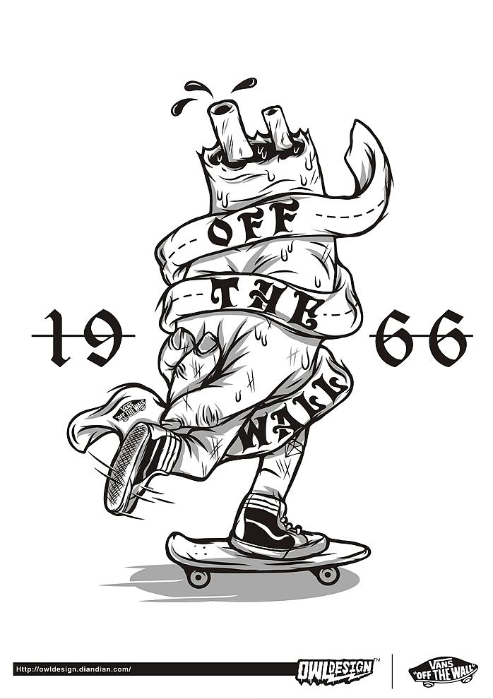 手绘ps人物素材滑板
