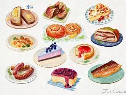 芬兰美食插画创作