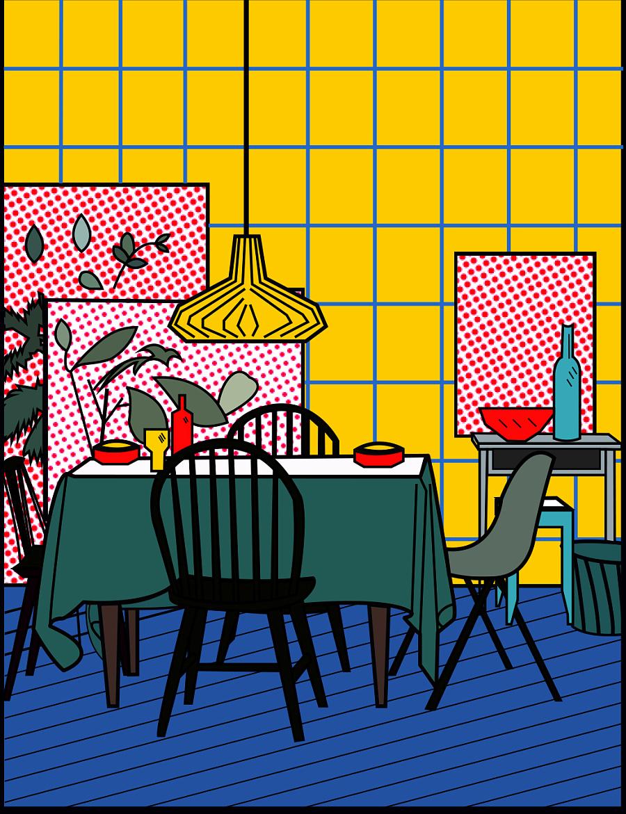 原创作品:美式风格室内插画