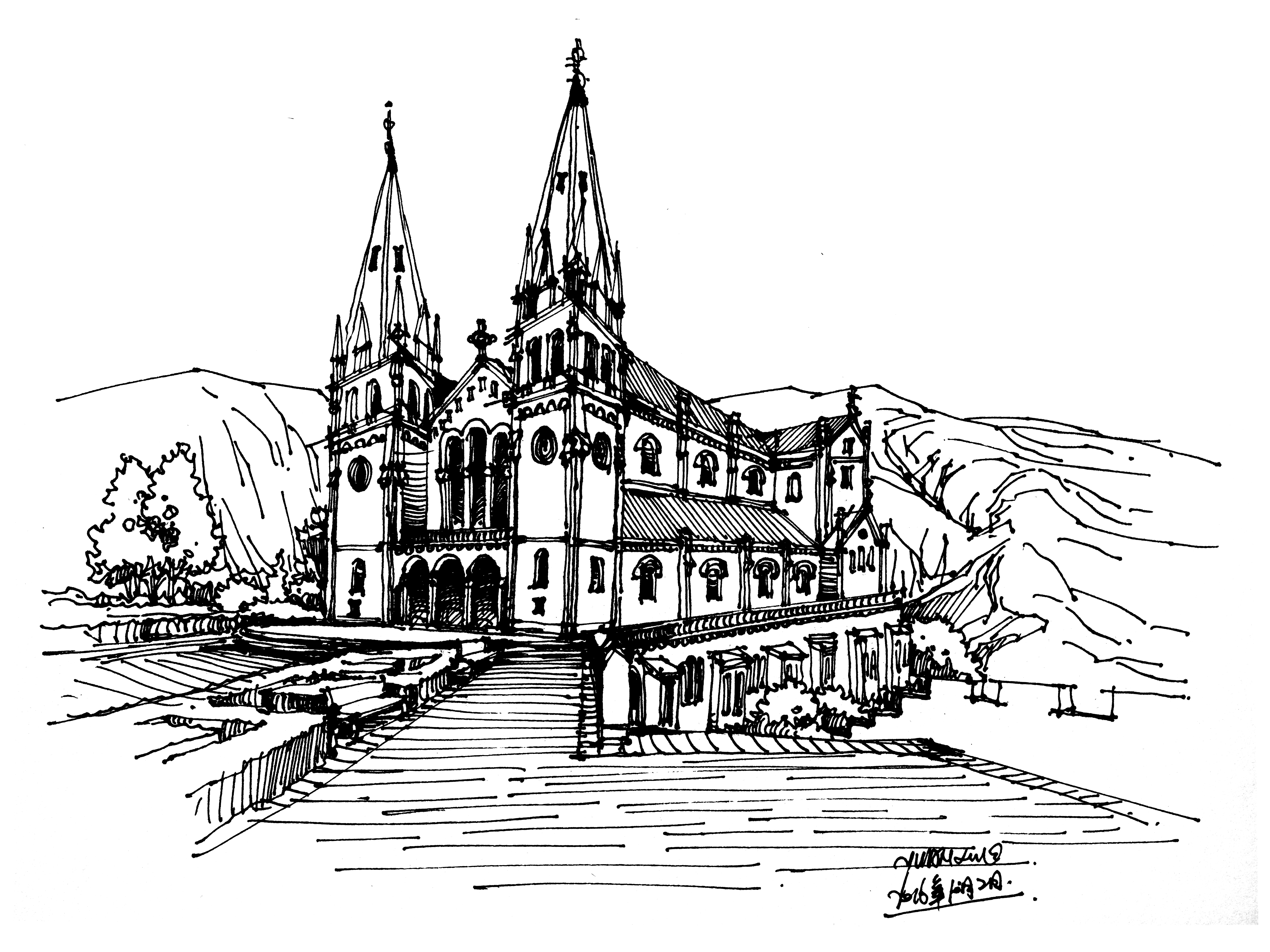 发一波近期钢笔手绘建筑作品|插画|插画习作|白鹿猿社