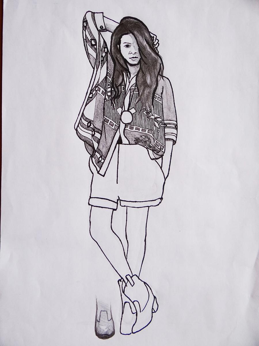 自己画的服装类手绘图|休闲/流行服饰|服装|朽木千叶