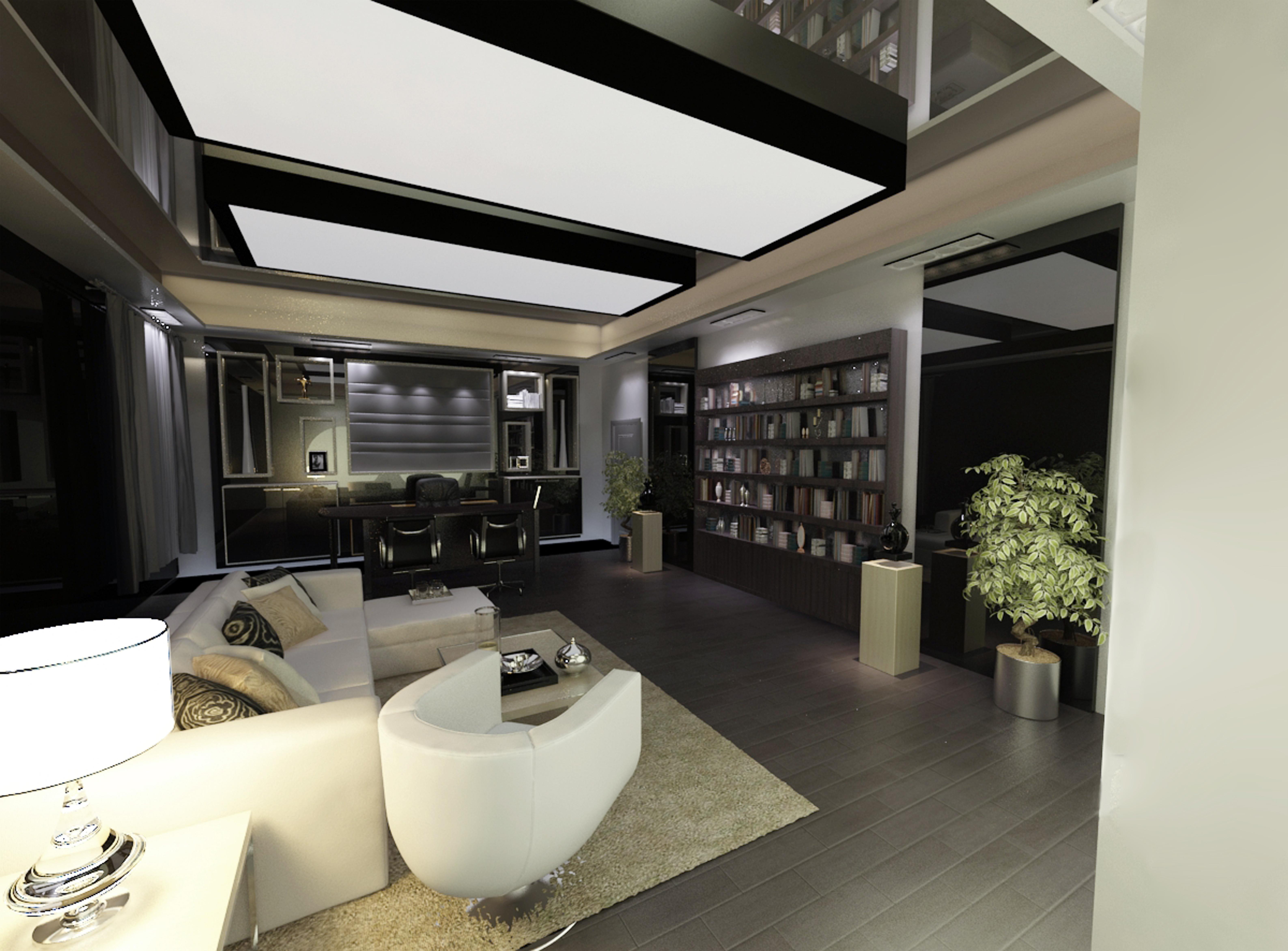 黑白风格办公空间效果图