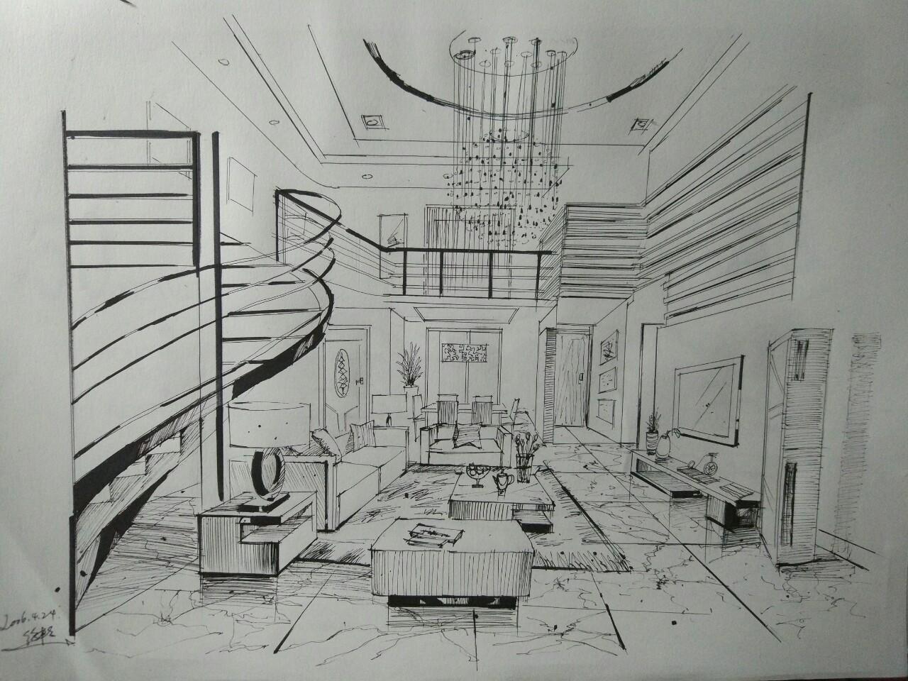 室内马克笔手绘图片