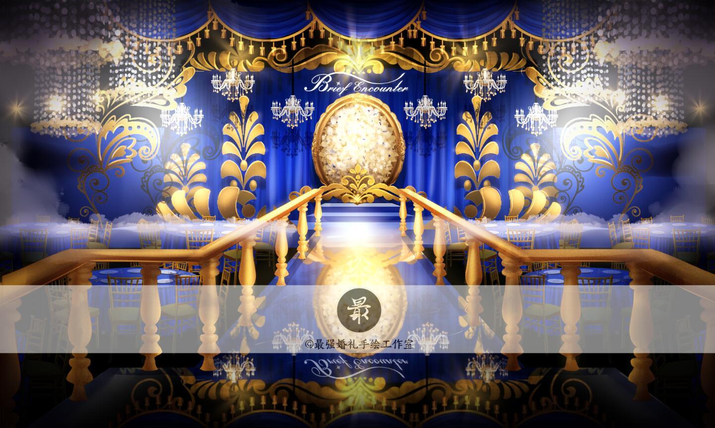 【婚礼手绘】电脑手绘—蓝金厅内效果图