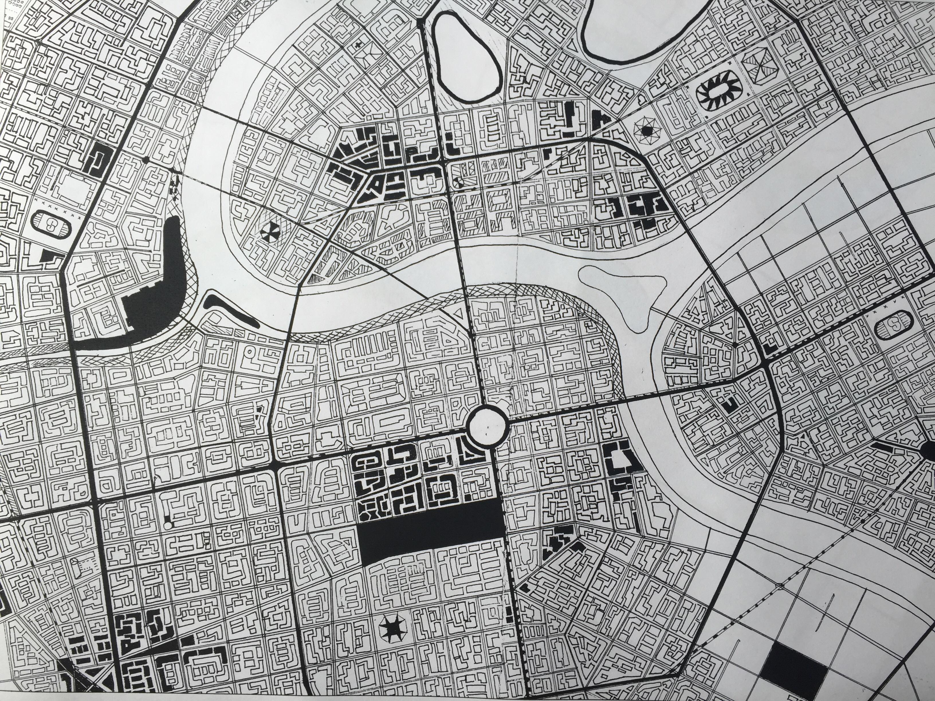 手绘城市卫星地图