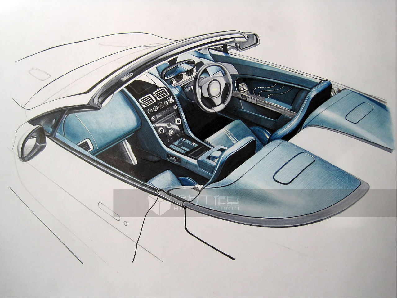 手绘汽车内室——工业设计产品手绘