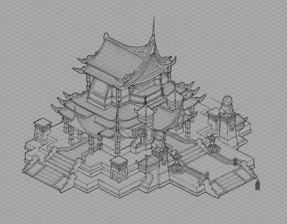 游戏建筑线稿
