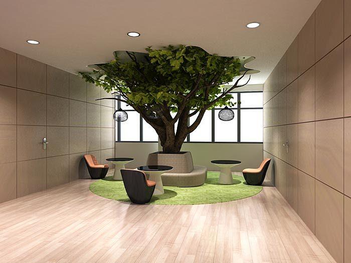 接待室的设计,设计师主要的目的就是将自然之风引入室内,绿植的出现是图片