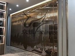 售楼处不锈钢山峦背景墙装饰 不锈钢山形屏风隔断定制