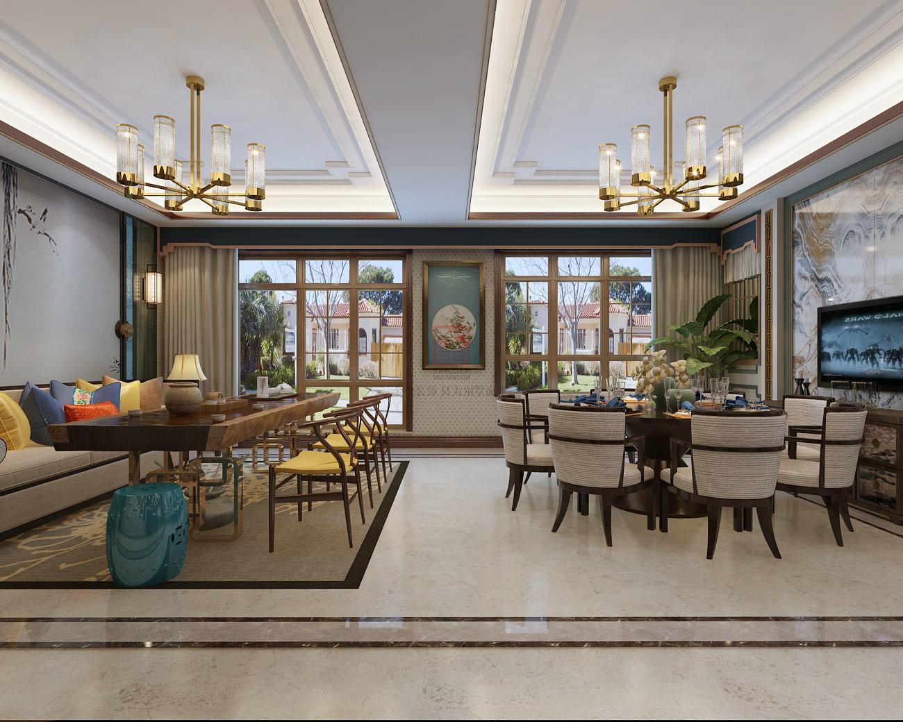 原河名墅客餐厅装修效果图|空间|室内设计|别墅大宅