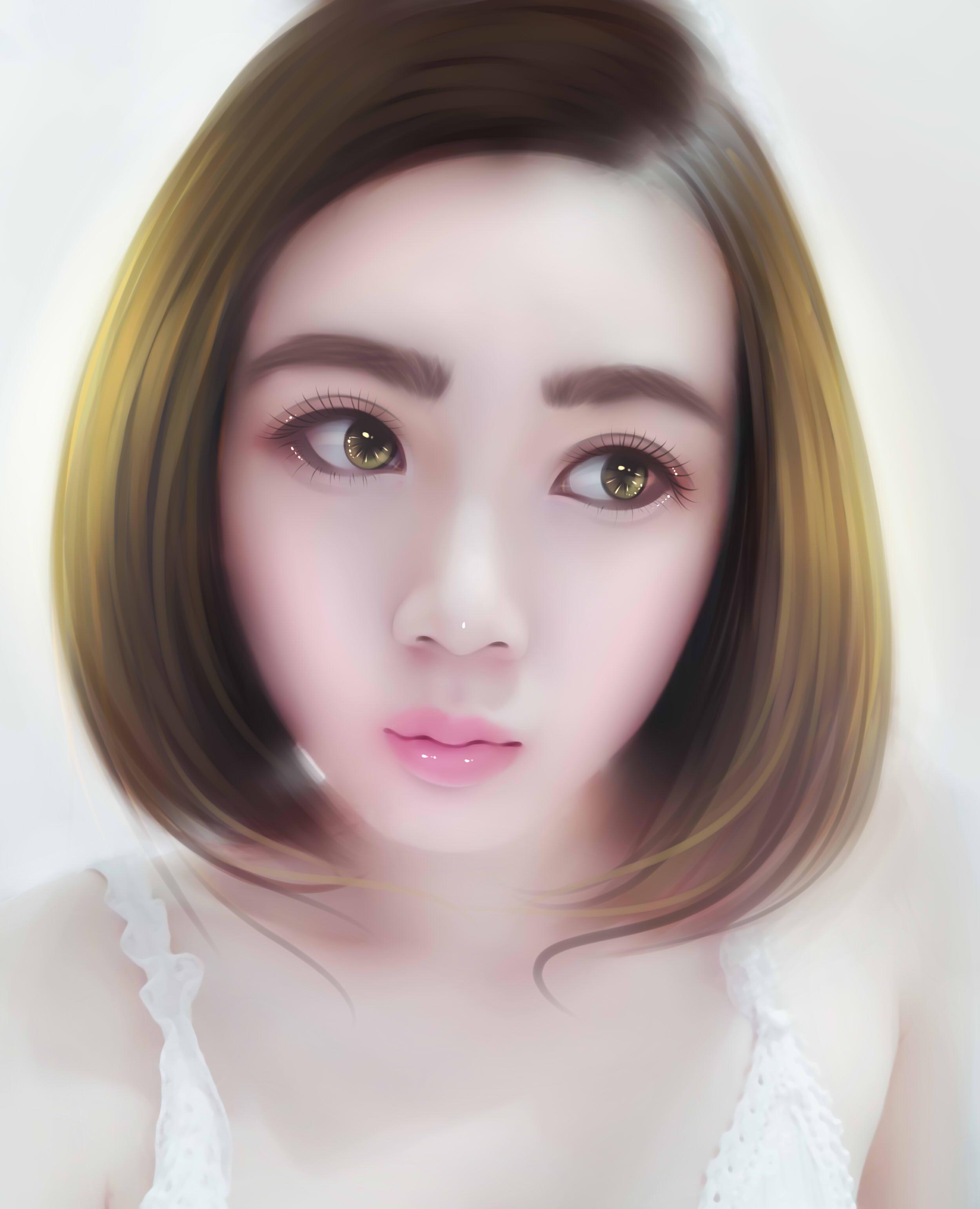 短发美女照片转手绘 手绘 转手绘