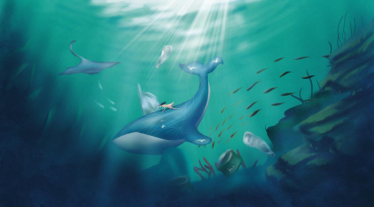 《奇幻梦境》海洋保护插画#青春答卷图片