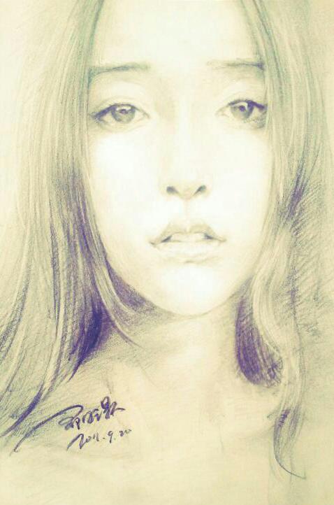 杨颖铅笔手绘图片