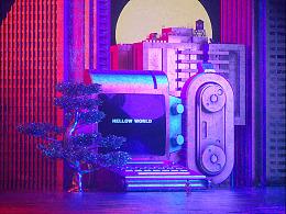 未来复古霓虹机械