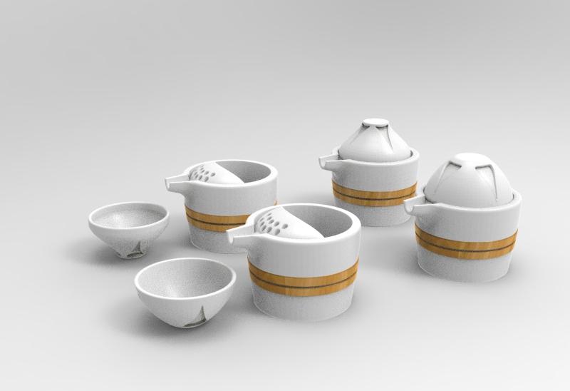 手绘广式早茶图标
