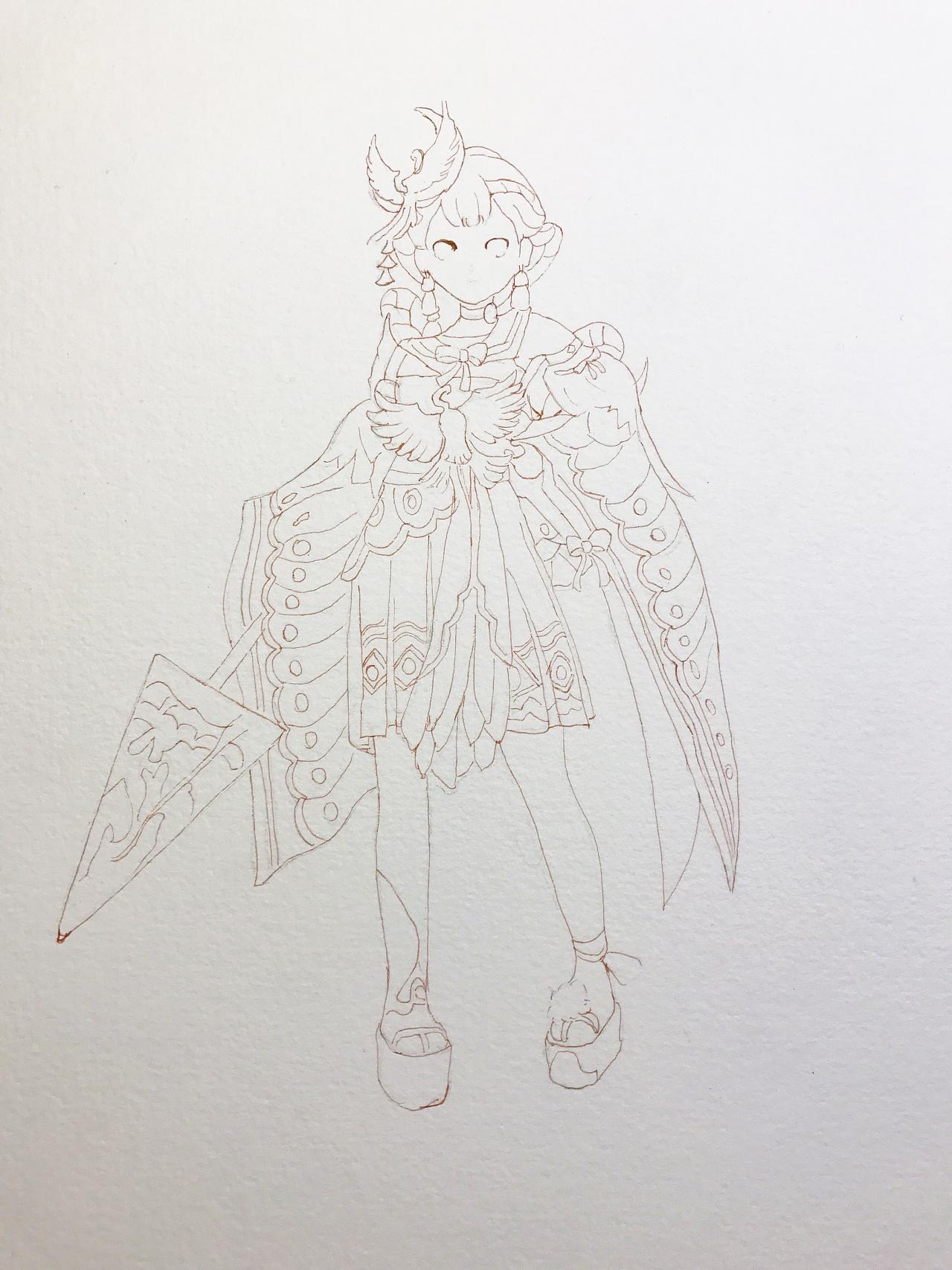 水彩手绘--阴阳师神乐